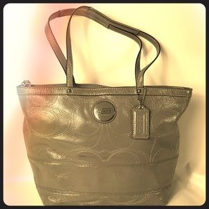 Coach shoulder patent leather gray purse
